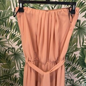mauve pink strapless jumpsuit with matching belt